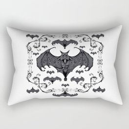 Bats and Filigree - Black and White Rectangular Pillow