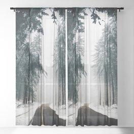 Winding Winter Roads Sheer Curtain