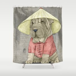 Shar Pei on the Great Wall Shower Curtain