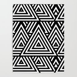 Triangle Pattern Black And White Poster