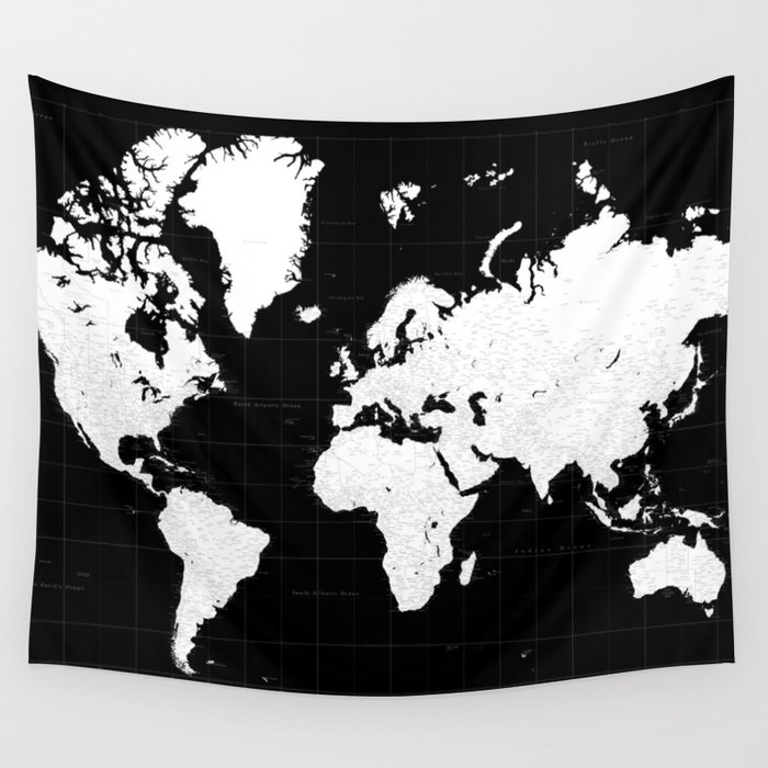 Black and white highly detailed world map with cities mason wall black and white highly detailed world map with cities mason wall tapestry gumiabroncs Image collections