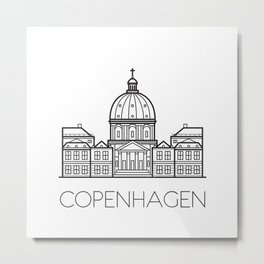 Marble Church Copenhagen Denmark Black and White Metal Print