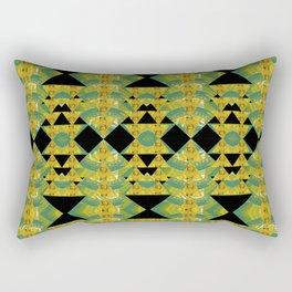Elegant Green & Gold Geometric Rectangular Pillow