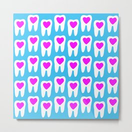 Teeth with hearts Metal Print