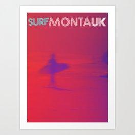 Surf Montauk Poster / Red Art Print
