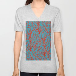 Turquoise and Red Leaves Pattern Unisex V-Neck