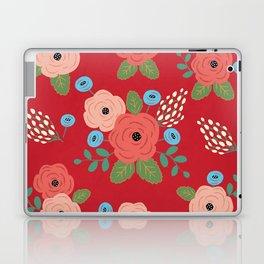 Flower Pattern, Pink Blue Flowers on Red, Vintage Floral Design Laptop & iPad Skin