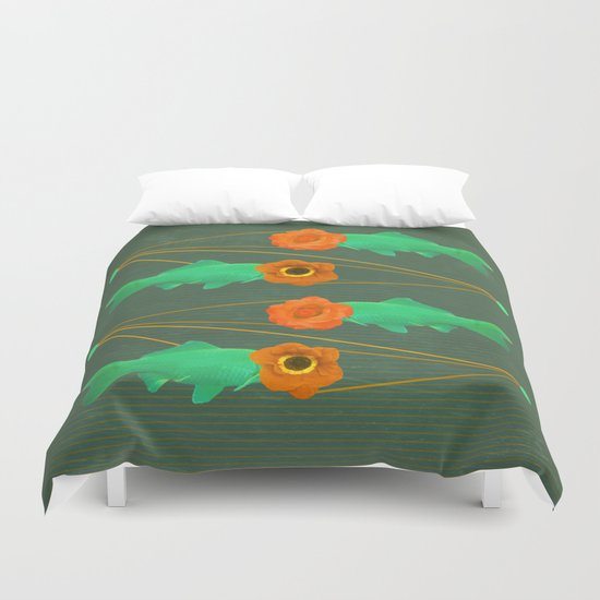 fishes and flowers color option Duvet Cover