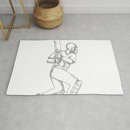 Cricket Batsman Batting Doodle Art Rug