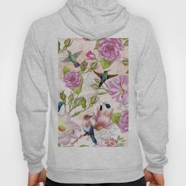 Vintage Roses and Hummingbird Pattern Hoody