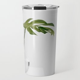 Single Monstera Leaf In Clear Glass Zen Minimalist House Plant Photo Travel Mug