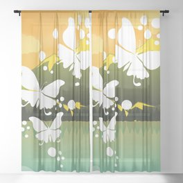Butterflies On Nature Frame Sheer Curtain