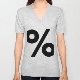 Percent Sign (Black & White) Unisex V-Neck