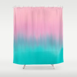 Artistic modern aqua pink ombre brushstrokes Shower Curtain