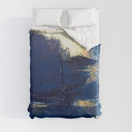Halo [2]: a minimal, abstract mixed-media piece in blue and gold by Alyssa Hamilton Art Duvet Cover