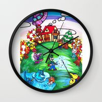animal crossing Wall Clocks featuring Animal crossing invasioni  by Cristina Lunat Sugamele