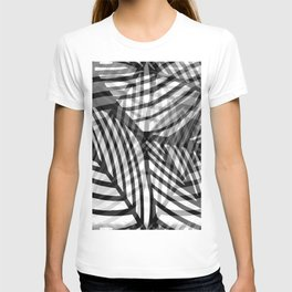 Layered Artistic Black White And Grey Leaf Vein Abstract T-shirt