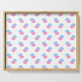 Wild polka dot 3- blue and pink Serving Tray