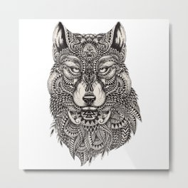 Ethnic Tribal Spiritual Wolf Illustration Metal Print