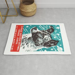 1950s Laika Space Dog Russian Matchbox Label Rug