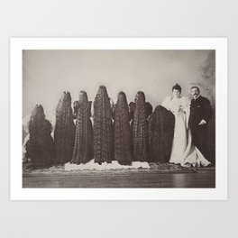 The Incredible Magnificent Seven Sunderland Sisters with their long dark hair black and white photo Art Print