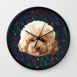Flower Poodle Dog Wall Clock