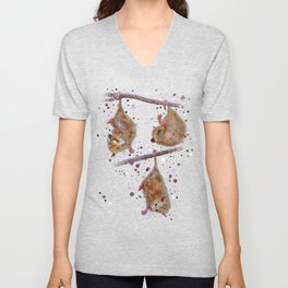 Possum family chilling in a tree - Lila Unisex V-Neck