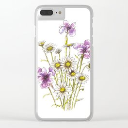 Iris and daisy flowers Clear iPhone Case
