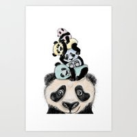 pandas Art Prints featuring pandas by Svenningsenmoller Design