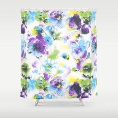 watercolor flowers pattern Shower Curtain