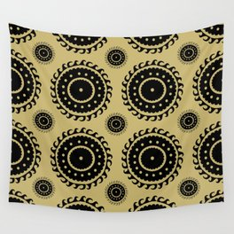 Black and Olive print Wall Tapestry