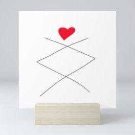 Inguz Rune with full Heart Mini Art Print