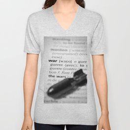 War word definition text with bomb concept Unisex V-Neck