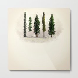 Ecru Forest Pines Metal Print