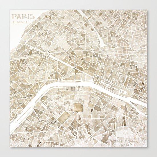 Paris France watercolor  city map Canvas Print