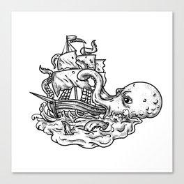 Kraken Attacking Ship Tattoo Grayscale Canvas Print