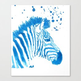 Splattered Blue Zebra Canvas Print