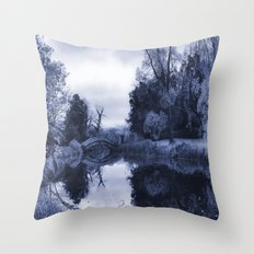 Chinese Bridge at Wrest Park in Blue Throw Pillow