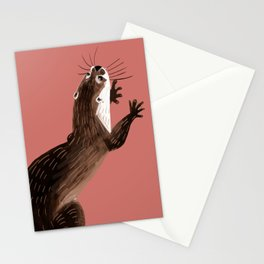 Asian small-clawed otter Coral pink Stationery Cards