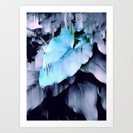 Blue Lush Foliage Glitch Art Print