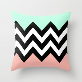 DOUBLE COLORBLOCK CHEVRON {MINT/CORAL/BLACK} Throw Pillow