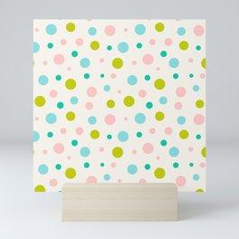 Multicolor circles over beige Mini Art Print