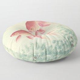 Goldfish Vintage Japanese Woodblock Print Floor Pillow