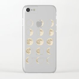 shiny moon phases on black / with stars Clear iPhone Case
