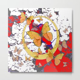 YELLOW  BUTTERFLIES IN WHITE & RED ABSTRACT Metal Print