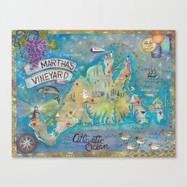 Martha's Vineyard Insiders Map Canvas Print