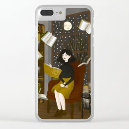 floating books Clear iPhone Case
