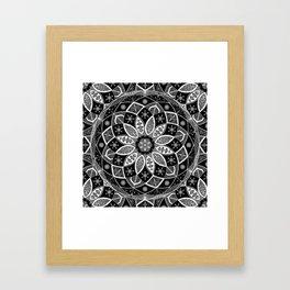 Mandala black white art pattern floral design Framed Art Print