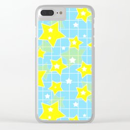 #Yellow #blue #stars Clear iPhone Case