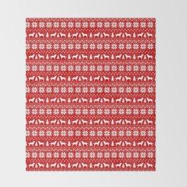 Labrador Retriever Silhouettes Christmas Sweater Pattern Throw Blanket